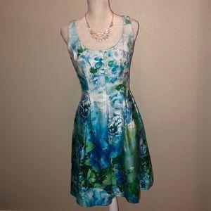 Nine West Blue Green Flowered Dress Size 10